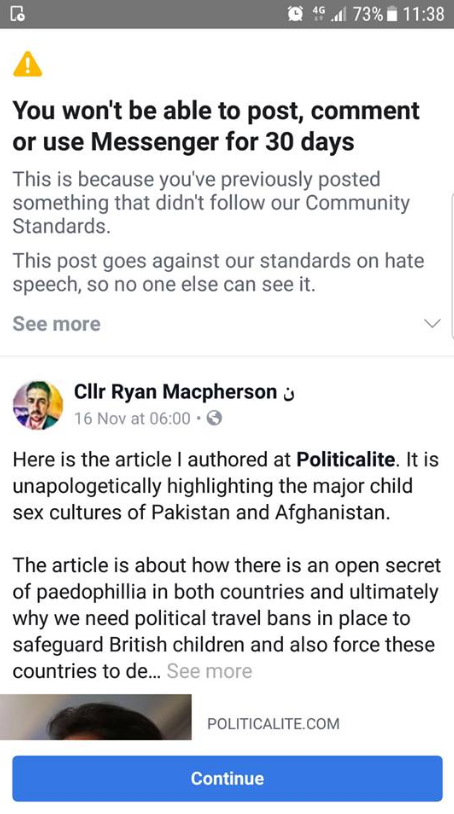 EXCLUSIVE: Facebook BANS UK Councillor After He Wrote Article